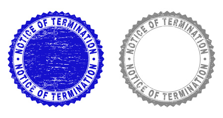 Grunge NOTICE OF TERMINATION stamp seals isolated on a white background. Rosette seals with grunge texture in blue and grey colors.