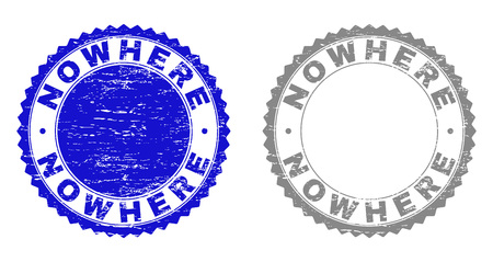 Grunge NOWHERE stamp seals isolated on a white background. Rosette seals with grunge texture in blue and gray colors. Vector rubber stamp imitation of NOWHERE title inside round rosette.
