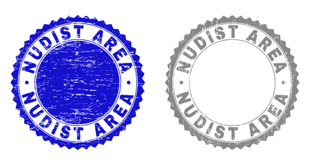 Grunge NUDIST AREA stamp seals isolated on a white background. Rosette seals with grunge texture in blue and gray colors. Vector rubber stamp imprint of NUDIST AREA caption inside round rosette.