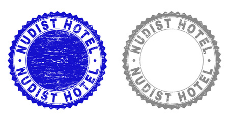 Grunge NUDIST HOTEL stamp seals isolated on a white background. Rosette seals with grunge texture in blue and gray colors. Vector rubber stamp imitation of NUDIST HOTEL label inside round rosette.