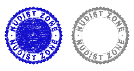 Grunge NUDIST ZONE stamp seals isolated on a white background. Rosette seals with grunge texture in blue and gray colors. Vector rubber overlay of NUDIST ZONE title inside round rosette.