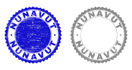 Grunge NUNAVUT stamp seals isolated on a white background. Rosette seals with distress texture in blue and gray colors. Vector rubber watermark of NUNAVUT caption inside round rosette. Illustration