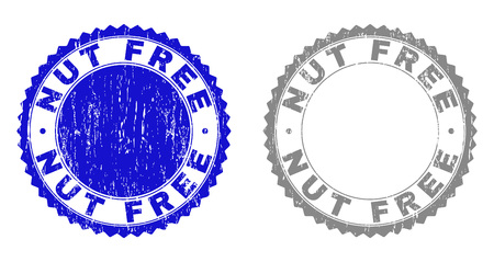 Grunge NUT FREE stamp seals isolated on a white background. Rosette seals with grunge texture in blue and grey colors. Vector rubber stamp imprint of NUT FREE title inside round rosette.