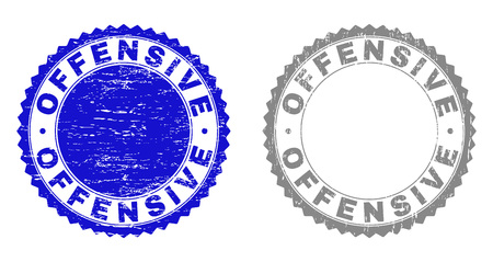 Grunge OFFENSIVE stamp seals isolated on a white background. Rosette seals with grunge texture in blue and grey colors. Vector rubber watermark of OFFENSIVE caption inside round rosette.