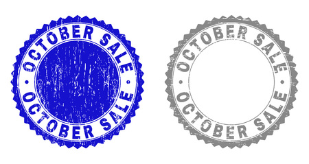 Grunge OCTOBER SALE stamp seals isolated on a white background. Rosette seals with grunge texture in blue and gray colors. Vector rubber stamp imprint of OCTOBER SALE caption inside round rosette.  イラスト・ベクター素材