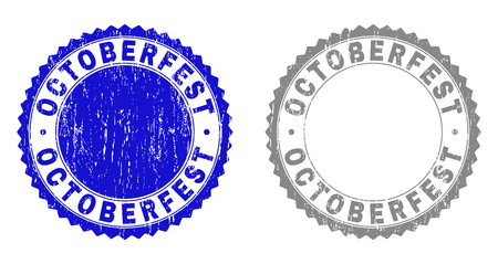 Grunge OCTOBERFEST stamp seals isolated on a white background. Rosette seals with grunge texture in blue and gray colors. Vector rubber stamp imitation of OCTOBERFEST title inside round rosette. Ilustrace