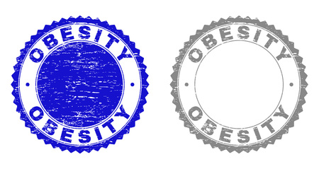 Grunge OBESITY stamp seals isolated on a white background. Rosette seals with grunge texture in blue and grey colors. Vector rubber stamp imitation of OBESITY title inside round rosette. Illusztráció