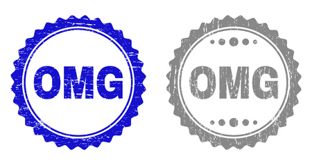 Grunge OMG stamp seals isolated on a white background. Rosette seals with grunge texture in blue and gray colors. Vector rubber stamp imitation of OMG text inside round rosette.