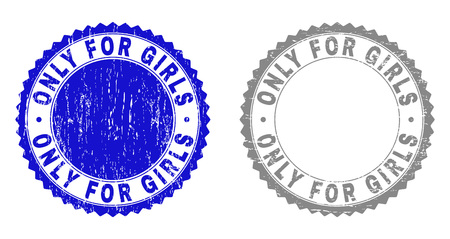 Grunge ONLY FOR GIRLS stamp seals isolated on a white background. Rosette seals with distress texture in blue and gray colors. Vector rubber stamp imprint of ONLY FOR GIRLS text inside round rosette.