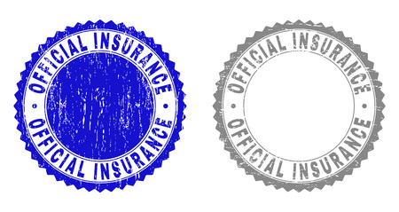 Grunge OFFICIAL INSURANCE stamp seals isolated on a white background. Rosette seals with distress texture in blue and grey colors.