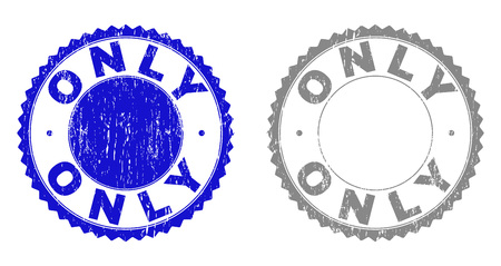 Grunge ONLY stamps isolated on a white background. Rosette seals with grunge texture in blue and grey colors. Vector rubber stamp imprint of ONLY title inside round rosette. Ilustração