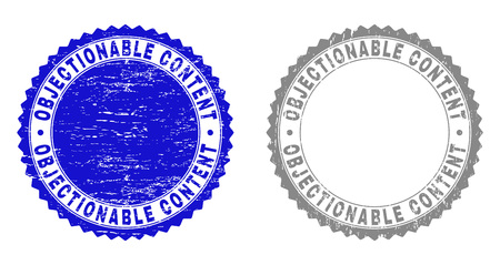 Grunge OBJECTIONABLE CONTENT stamp seals isolated on a white background. Rosette seals with grunge texture in blue and grey colors. Ilustração