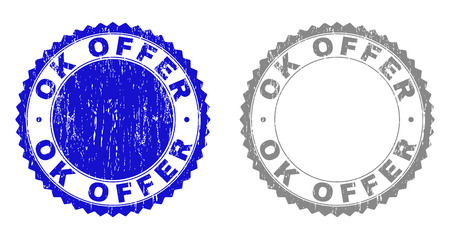 Grunge OK OFFER stamp seals isolated on a white background. Rosette seals with distress texture in blue and gray colors. Vector rubber stamp imitation of OK OFFER caption inside round rosette.