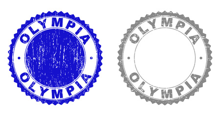 Grunge OLYMPIA stamp seals isolated on a white background. Rosette seals with distress texture in blue and gray colors. Vector rubber stamp imitation of OLYMPIA tag inside round rosette.