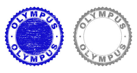 Grunge OLYMPUS stamp seals isolated on a white background. Rosette seals with grunge texture in blue and gray colors. Vector rubber stamp imitation of OLYMPUS text inside round rosette.
