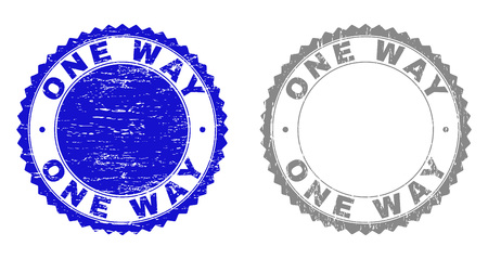 Grunge ONE WAY stamp seals isolated on a white background. Rosette seals with grunge texture in blue and gray colors. Vector rubber overlay of ONE WAY title inside round rosette.