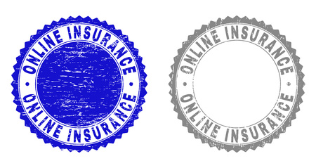 Grunge ONLINE INSURANCE stamp seals isolated on a white background. Rosette seals with grunge texture in blue and gray colors.