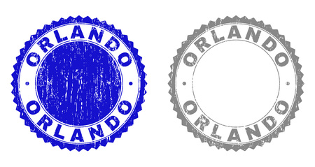 Grunge ORLANDO stamp seals isolated on a white background. Rosette seals with grunge texture in blue and grey colors. Vector rubber stamp imprint of ORLANDO tag inside round rosette.