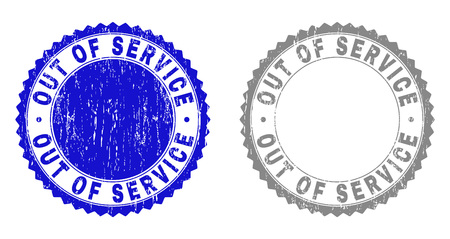 Grunge OUT OF SERVICE stamp seals isolated on a white background. Rosette seals with grunge texture in blue and gray colors. Vector rubber stamp imprint of OUT OF SERVICE tag inside round rosette. Çizim