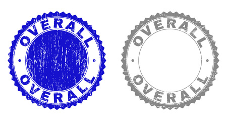 Grunge OVERALL stamp seals isolated on a white background. Rosette seals with distress texture in blue and grey colors. Vector rubber stamp imitation of OVERALL title inside round rosette. Çizim