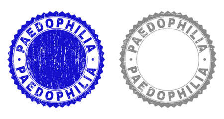 Grunge PAEDOPHILIA stamp seals isolated on a white background. Rosette seals with grunge texture in blue and gray colors. Vector rubber stamp imitation of PAEDOPHILIA text inside round rosette. 스톡 콘텐츠 - 152445488