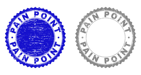 Grunge PAIN POINT stamp seals isolated on a white background. Rosette seals with grunge texture in blue and grey colors. Vector rubber watermark of PAIN POINT tag inside round rosette. Illusztráció