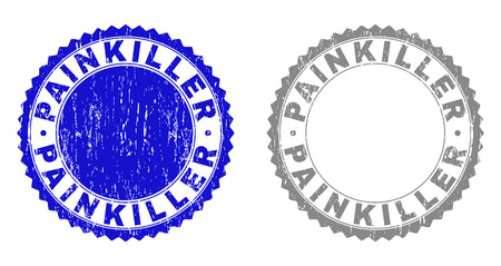Grunge PAINKILLER stamp seals isolated on a white background. Rosette seals with distress texture in blue and grey colors. Vector rubber stamp imitation of PAINKILLER tag inside round rosette. Çizim