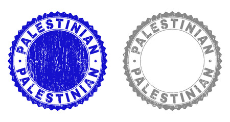 Grunge PALESTINIAN stamp seals isolated on a white background. Rosette seals with grunge texture in blue and grey colors. Vector rubber watermark of PALESTINIAN title inside round rosette. Ilustração