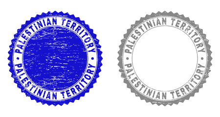 Grunge PALESTINIAN TERRITORY stamp seals isolated on a white background. Rosette seals with grunge texture in blue and grey colors.