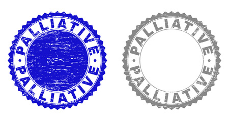 Grunge PALLIATIVE stamp seals isolated on a white background. Rosette seals with grunge texture in blue and grey colors. Vector rubber watermark of PALLIATIVE label inside round rosette. Illustration