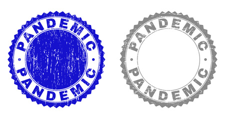 Grunge PANDEMIC stamp seals isolated on a white background. Rosette seals with grunge texture in blue and grey colors. Vector rubber stamp imprint of PANDEMIC caption inside round rosette. Çizim