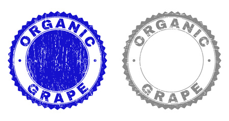 Grunge ORGANIC GRAPE stamp seals isolated on a white background. Rosette seals with grunge texture in blue and grey colors. Vector rubber stamp imprint of ORGANIC GRAPE label inside round rosette.