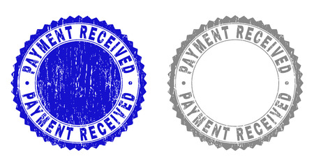 Grunge PAYMENT RECEIVED stamp seals isolated on a white background. Rosette seals with distress texture in blue and grey colors.