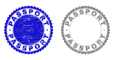 Grunge PASSPORT stamp seals isolated on a white background. Rosette seals with grunge texture in blue and grey colors. Vector rubber stamp imprint of PASSPORT caption inside round rosette. Standard-Bild - 116743159