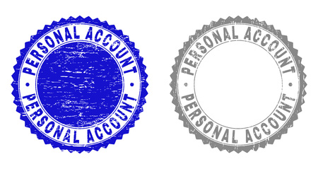 Grunge PERSONAL ACCOUNT stamp seals isolated on a white background. Rosette seals with grunge texture in blue and grey colors. Vector rubber overlay of PERSONAL ACCOUNT text inside round rosette.