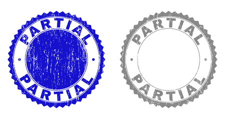 Grunge PARTIAL stamp seals isolated on a white background. Rosette seals with distress texture in blue and gray colors. Vector rubber stamp imprint of PARTIAL text inside round rosette. Illusztráció