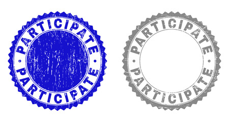 Grunge PARTICIPATE stamp seals isolated on a white background. Rosette seals with grunge texture in blue and grey colors. Vector rubber stamp imitation of PARTICIPATE text inside round rosette. Illustration