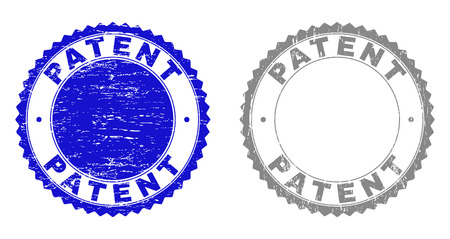 Grunge PATENT stamp seals isolated on a white background. Rosette seals with distress texture in blue and gray colors. Vector rubber stamp imitation of PATENT text inside round rosette.