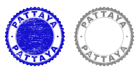 Grunge PATTAYA stamp seals isolated on a white background. Rosette seals with grunge texture in blue and grey colors. Vector rubber stamp imitation of PATTAYA label inside round rosette.