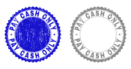 Grunge PAY CASH ONLY watermarks isolated on a white background. Rosette seals with grunge texture in blue and grey colors. Vector rubber stamp imitation of PAY CASH ONLY caption inside round rosette. Illusztráció