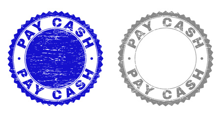 Grunge PAY CASH stamp seals isolated on a white background. Rosette seals with distress texture in blue and grey colors. Vector rubber stamp imprint of PAY CASH tag inside round rosette.
