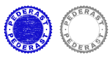 Grunge PEDERAST stamp seals isolated on a white background. Rosette seals with grunge texture in blue and grey colors. Vector rubber stamp imitation of PEDERAST text inside round rosette.