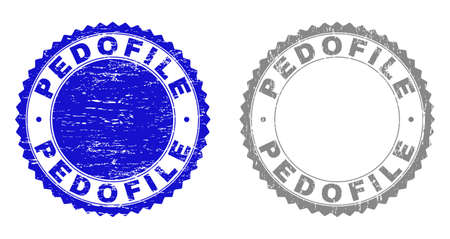 Grunge PEDOFILE stamp seals isolated on a white background. Rosette seals with distress texture in blue and grey colors. Vector rubber stamp imprint of PEDOFILE tag inside round rosette.
