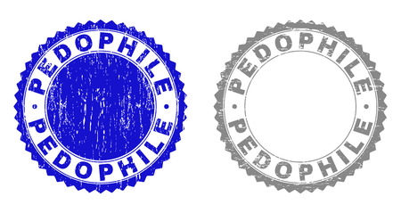 Grunge PEDOPHILE stamp seals isolated on a white background. Rosette seals with grunge texture in blue and gray colors. Vector rubber stamp imitation of PEDOPHILE text inside round rosette.