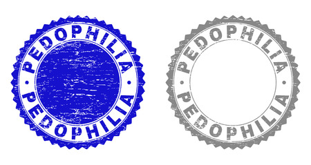 Grunge PEDOPHILIA stamp seals isolated on a white background. Rosette seals with grunge texture in blue and gray colors. Vector rubber overlay of PEDOPHILIA title inside round rosette.