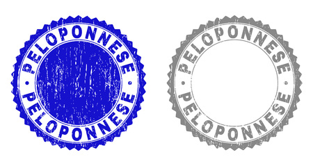 Grunge PELOPONNESE stamp seals isolated on a white background. Rosette seals with grunge texture in blue and grey colors. Vector rubber stamp imprint of PELOPONNESE caption inside round rosette.