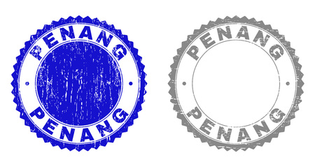Grunge PENANG stamp seals isolated on a white background. Rosette seals with grunge texture in blue and gray colors. Vector rubber stamp imprint of PENANG text inside round rosette. Illustration
