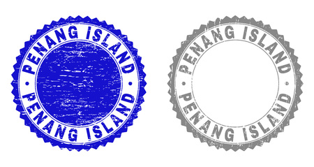 Grunge PENANG ISLAND stamp seals isolated on a white background. Rosette seals with grunge texture in blue and gray colors. Vector rubber stamp imprint of PENANG ISLAND label inside round rosette. Illustration
