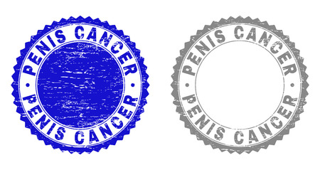 Grunge PENIS CANCER stamp seals isolated on a white background. Rosette seals with grunge texture in blue and gray colors. Vector rubber stamp imitation of PENIS CANCER tag inside round rosette.