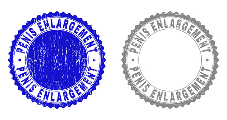Grunge PENIS ENLARGEMENT stamps isolated on a white background. Rosette seals with grunge texture in blue and grey colors.
